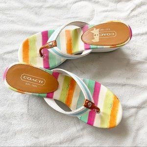 Coach Felicity Watercolor Wedge Thong Sandal